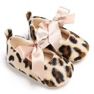 New Arrival Fashion Leopard Print Champagne Ribbon Baby Crib Shoes with Cotton Soft Sole Mary Jane Infant Prewalker