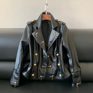 Real Leather Jacket Coat Women Zippers Genuine Leather Sheepskin Motorcycle Fashion Designer Ladies Tops Plus Size1
