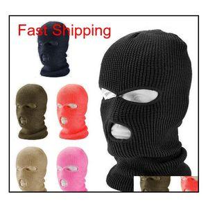 3 Hole Full Face Mask Ski Mask Winter Cap Balaclava Hood Motorbike Motorcycle Helmet Full Face Helmet Army Tactical Mask Ws9Wo
