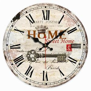 Wall Clocks Vintage French Sweet Home Key Paris El Watches Farmhouse Wood Clock Large Art