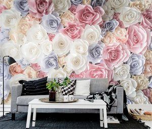 3d Digital Print Wallpaper hand-painted floral garden rosette TV sofa wall decoration practical and beautiful wall paper