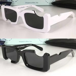 Квадратная классическая мода OW40006 очки Polycarbonate Plate Notch Frame 40006 солнцезащитные очки мужчины и женщины белые солнцезащитные очки с оригинальной коробкой