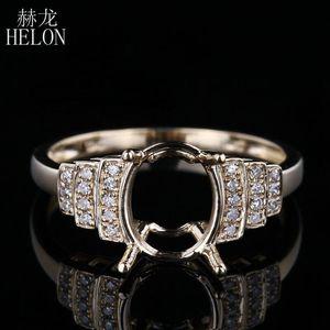 HELON 7X9mm Oval Women Fine Jewelry Solid 10K Yellow Gold Natural Diamonds Engagement Wedding Semi Mount Ring Setting
