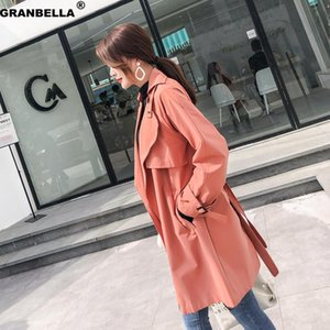 Plus size women's casual loose trench coat streetwear solid color sashes overcoat women's cloak spring autumn