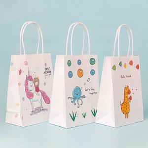 sacos do presente crianças cartoon animal cosméticos sacolas personalizadas do bebê papel partido de chuveiro traktatie kinderen verjaardag PZLK #
