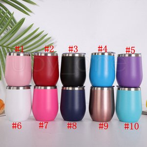12oz Stainless Steel Tumbler Wine Glasses Egg Cup 350ml Water Bottle Double Wall Vacuum Insulated Beer Mug Kitchen Bar Drinkware RRA4036