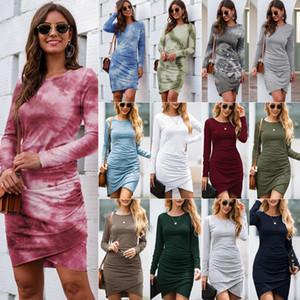 Sexy Hip Dresses Womens Designer Long Sleeve O Neck Tie Dye Casual Clothing Autumn Winter Fashion Women Pullover Mini Dress