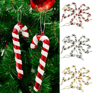 Weihnachten Candy Cane Ornament Weihnachtsbaum Anhänger Drop Ornamente Dekorationen Mini Streifen Cane Stick Craft Blank Dekor Gold Silber Rot GWE3970