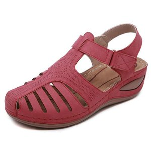 CEYANEAO Summer women's sandals with a round toe fashionable women's beach shoes wedge shoes comfortable on the platform