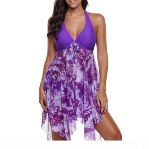 Women Print Swimwear Tankini Asymmetric Hem Halter Swimdress And Panty Beachwear Swimming Suit For Women Plus Size Two Pieces C19030201