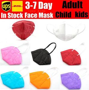 KN95 máscara facial 95% filtro colorido máscara ativado Respiração carbono respirador válvula 5 criança camada de máscara designer de rosto crianças menino adulto