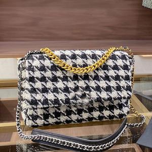 Женщины цепи сумки на ремне сумки Проверить Crossbody высокого качества Tweed кошелек многоцветной леди бумажник с CC Новый