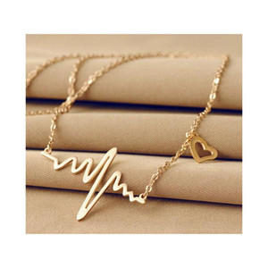 Fashion Simple Notes Ecg Heart Frequency Collarbone Necklace Heart Feel Pendants Sweater Necklace Women Whol sqcQEN new_dhbest