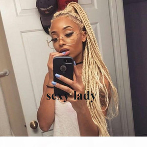 180density full Box Braids Wig brazilian #613 blonde lace front wig natural Hair Heat Resistant Braids Synthetic hair wigs for black women