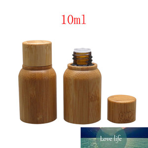 30 X 10ml Empty Bamboo Essential Oil Container Mini Cosmetics Oil Packaging Perfumes Bamboo Bottle Liquid Glass Bottles With Lid
