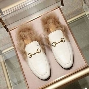 Designer Genuine leather loafers Fur Muller slipper with buckle Fashion women Princetown Ladies Casual Fur Mules Flats New Free shipping h3