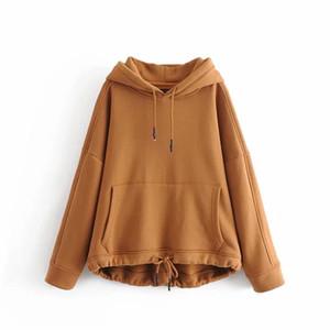 YOCALOR Mulheres Harajuku algodão bolsos dos retalhos sólido regular Oversize camisola Plus Size Tops Hoodies