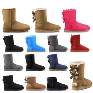 botas de nieve clásico del invierno mujeres de arranque de tobillo chica arco corto pelaje castaño de arranque negro gris del bule zapatos de las mujeres de color rosa tamaño de la moda al aire libre 5-10