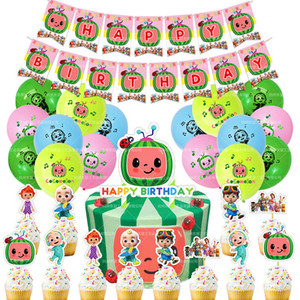 2021 Children Cartoon CoComelon Printed Party Decoration Birthday Flag Balloon Cake Inserts Sets Lovely Kids Birthday Party Supplies LY118C