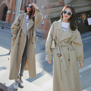 Long Trench Coats Korean Sashes Outerwear Windbreaker Spring Autumn Loose Big Pocket Over Knee Women Chic Dust Coat Female