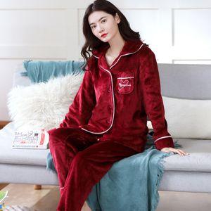 2 Pieces Winter Women Thicken Warm Soft Pajamas Female Flannel Pajamas Set Mujer Long Sleeve Sleepwear for Girls Ladies Pyjamas 201020