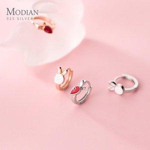 Modian New 925 Sterling Silver Mini Tiny Carrot Asymmetry Hoop Earring for Women Fashion Ear Pin Fine Jewelry Kids Gift