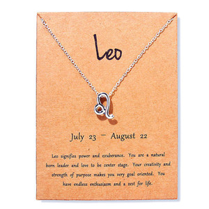 Gift BeautyHot 12 card zodiac Necklaces with constellation sign Pendant Silver chains Necklace For Men Women Fashion Jewelry in Bulk