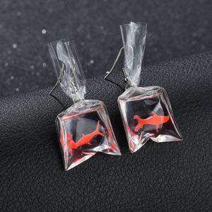 Terreau Kathy Cute Koi Fish Water Bag Earrings For Women 2019 New Trendy Girl Brincos Anti Allergy Graceful Joker Eardrop