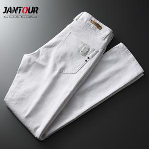Jantour Marka İlkbahar Yaz Beyaz Jeans Erkek Sokak Giyim kabartılmış Pantolon Erkekler Jean Pontallon Homme Skinny Kalem Pantolon Erkek