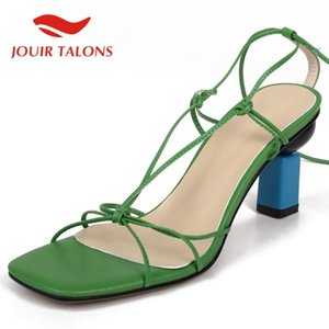 JOUIR TALONS 2020 Dropship Genuine Leather Woman Sandals Strange Style Heel Peep Toe Narrow Band Pumps Summer Casual Woman Shoes
