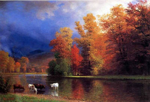 Auf den Saco Kühe in der Herbstlandschaft von Fluss Home Decor Handbemalte HD 201019 Ölgemälde auf Leinwand-Wand-Kunst Bilder Drucken