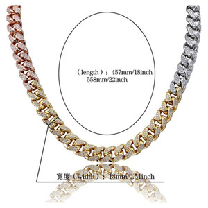 12mm Iced Out Zircon Miami Cuban Link Necklace Choker Silver Rose Gold Color Chain jllKSI bdecoat