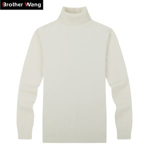 Brother Wang Brand Men's Casual Pullovers Suéter estilo clásico moda Slim Turtleneck suéter masculino negro blanco 201125