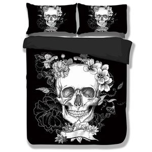 Black Bedding Set 3D Printed Duvet Cover Set Twin Full Queen King size Beds Cover Single Double Gothic Bed Linens 3pcs