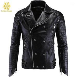 Kış Moda Erkek Deri Ceketler Ve Mont Tam Pelt Skulls Botton Punk Stil Fermuarlar PU Deri Ceket Erkekler Motosiklet Ceket1