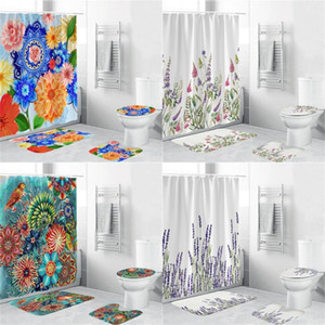Conjuntos de baño a prueba de agua Impresión 3D Cortinas de ducha de flores Matera de inodoro 4pcs Set Higroscopic Home Accessories Popular 50ZH G2