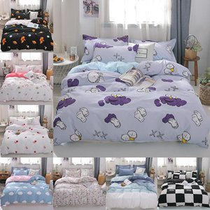 Cartoon space bed linens black plaid bedding set home Textile cute duvet cover bed sheet quilt cover for kids queen king size