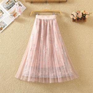 Womens Elastic Waist Solid Pleated Skirt Loose Long Beach Sun Skirt Drop Shipping High Quality