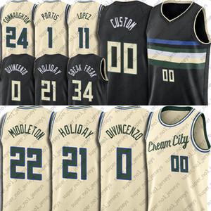 مخصص Milwaukees جيرسي 21 JRUE Donte Holiday Divincenzo Jersey Khris Brook Middleton Lopez Jerseys Wilson Augustin Portis
