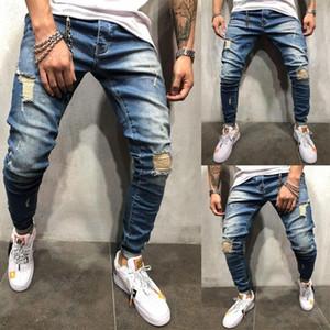 رجل فاسق نحيل جينز نحيل سروال جينز قلم رصاص بنطلون جينز زائد حجم الملابس الداخلية للرجال نحيل ممزق هول المرقعة جينز الشارع الشهير