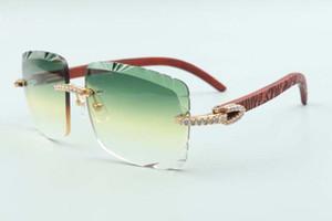 2021 최신 스타일 베스트셀러 타이거 나무 사원 안경 3524020, 절단 렌즈 중간 다이아몬드 선글라스, 크기 : 58-18-135mm