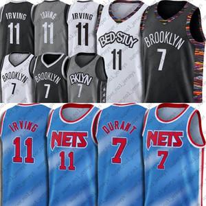 BrooklynNetsJersey azul Kevin Durant 7 Kyrie Irving 11 Baloncesto jerseys teñido anudado del estilo clásico de la edición de 1990 Regresar a uniformes