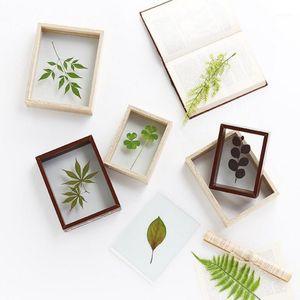 4/7/8/10 inç katı ahşap fotoğraf çerçevesi çift taraflı cam bitki örneği çerçeve kare fotoğraf yaratıcı diy numune dekorasyon1