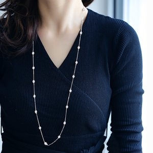 DAIMI 6-7mm Long Pearl Necklace Silver 925 Jewelry Sweater Pearl Necklace For Women 201224
