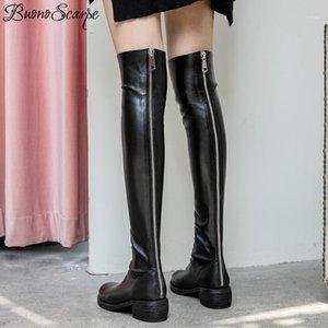 Buono Scarpe Scipper над колеными длинные сапоги натуральная кожа Botas Mujer мода длинные пинетки женские кожаные туфли плиссированные1