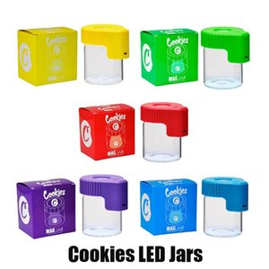 Cookies LED-Licht Tabak Container Wiederaufladbare Medizin-Kasten Glaskästen Jars Dab Wax 155 ml Lagerung Trocken Kräuter Roll Zigarettenglut Cans