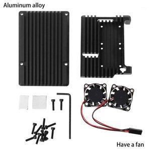 1 PC Estuche de gabinete de aleación de aluminio de 1 PC Caja de metal Caja negra Placa radiante Refrigerador de diseños de calor para Raspberry Pi 4 Modelo B1
