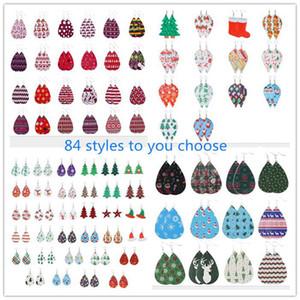 Pelle di Natale in pelle orecchini Faux ciondola gocce orecchini per le donne Albero di Natale della Bell Deer Gocce orecchino per il regalo di Natale DWD2124