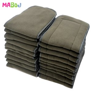 MABOJ 10Pcs Reusable Washable Inserts Boosters Liners Pocket Cloth Nappy Diaper Microfibre Bamboo Charcoal Insert 4 Layer New 201020