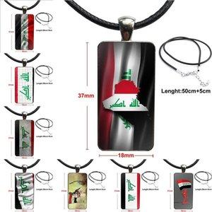 Per gioielli regali delle donne ragazzo Iraq National Flag Fashion Glass Cabochon Girocollo Collana rettangolo Pendant